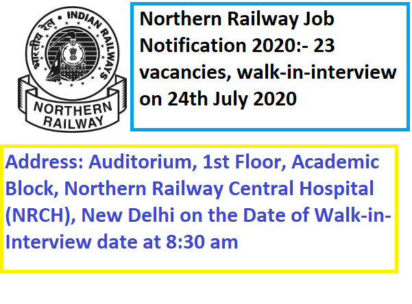 Northern Railway Job Notification 2020, Northern Railway Recruitment 2020,