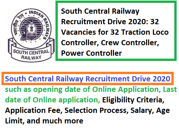 South Central Railway Recruitment 2020, SCR recruitment 2020, SCR Recruitment drive 2020, South Central Railway Recruitment 2020: Applications invited for 32posts
