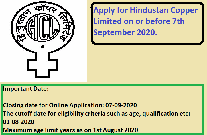 Hindustan Copper Limited Recruitment Drive 2020