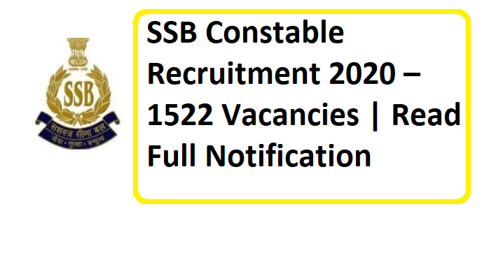 SSB Constable Recruitment 2020