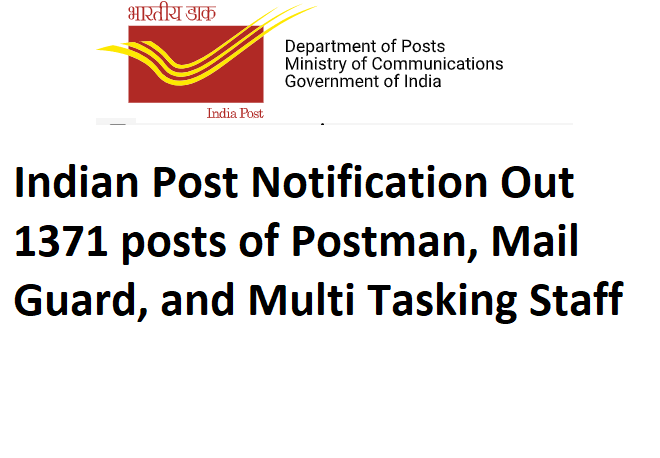 Indian Post Notification Out 1371 posts