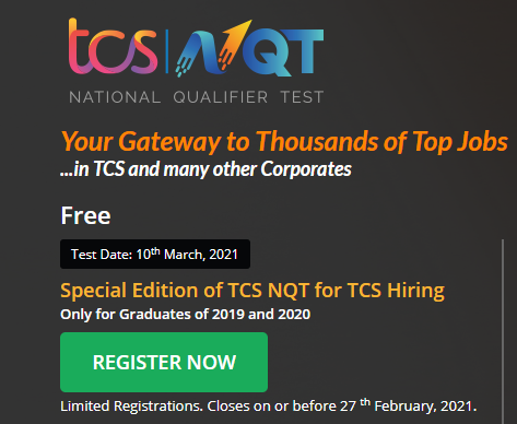 Special Edition of TCS NQT 2021 for Freshers 2019, 2020 batch